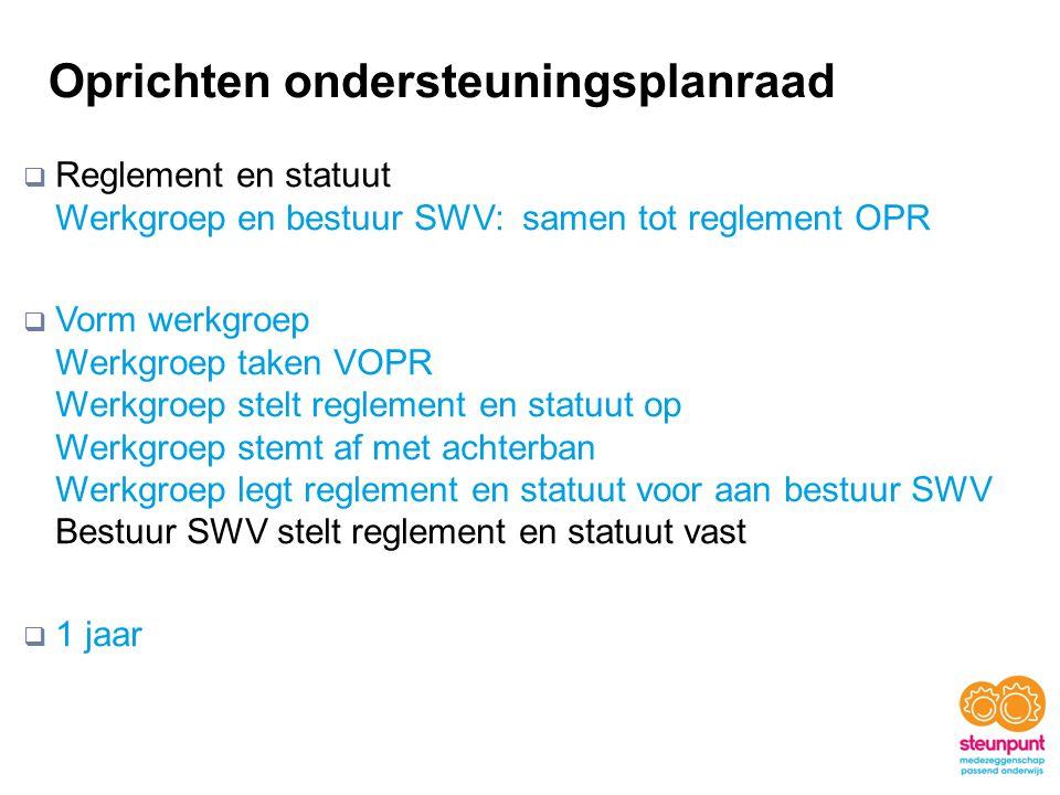 Oprichten ondersteuningsplanraad  Reglement en statuut Werkgroep en bestuur SWV: samen tot reglement OPR  Vorm werkgroep Werkgroep taken VOPR Werkgr