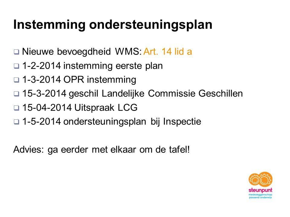 Instemming ondersteuningsplan  Nieuwe bevoegdheid WMS: Art. 14 lid a  1-2-2014 instemming eerste plan  1-3-2014 OPR instemming  15-3-2014 geschil