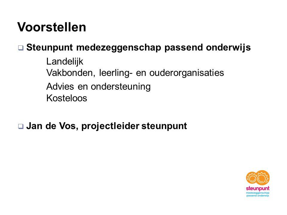 Voorstellen  Steunpunt medezeggenschap passend onderwijs Landelijk Vakbonden, leerling- en ouderorganisaties Advies en ondersteuning Kosteloos  Jan de Vos, projectleider steunpunt