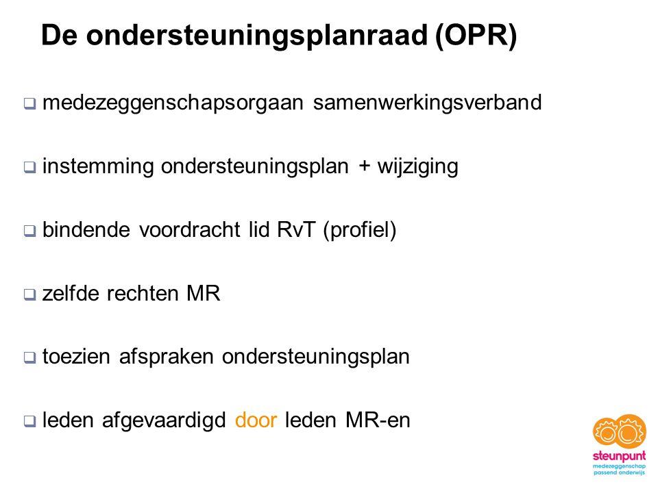 De ondersteuningsplanraad (OPR)  medezeggenschapsorgaan samenwerkingsverband  instemming ondersteuningsplan + wijziging  bindende voordracht lid RvT (profiel)  zelfde rechten MR  toezien afspraken ondersteuningsplan  leden afgevaardigd door leden MR-en