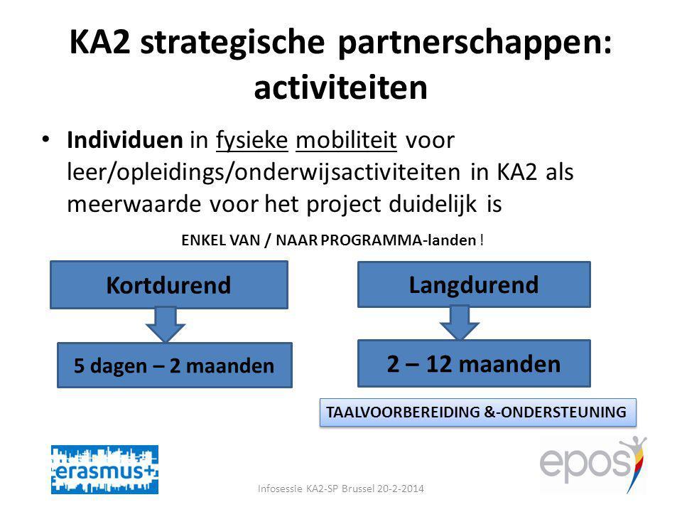 KA2 strategische partnerschappen: activiteiten Infosessie KA2-SP Brussel 20-2-2014 Individuen in fysieke mobiliteit voor leer/opleidings/onderwijsactiviteiten in KA2 als meerwaarde voor het project duidelijk is Kortdurend Langdurend 5 dagen – 2 maanden 2 – 12 maanden ENKEL VAN / NAAR PROGRAMMA-landen .