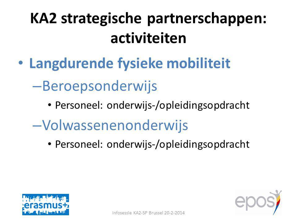 KA2 strategische partnerschappen: activiteiten Infosessie KA2-SP Brussel 20-2-2014 Langdurende fysieke mobiliteit – Beroepsonderwijs Personeel: onderwijs-/opleidingsopdracht – Volwassenenonderwijs Personeel: onderwijs-/opleidingsopdracht