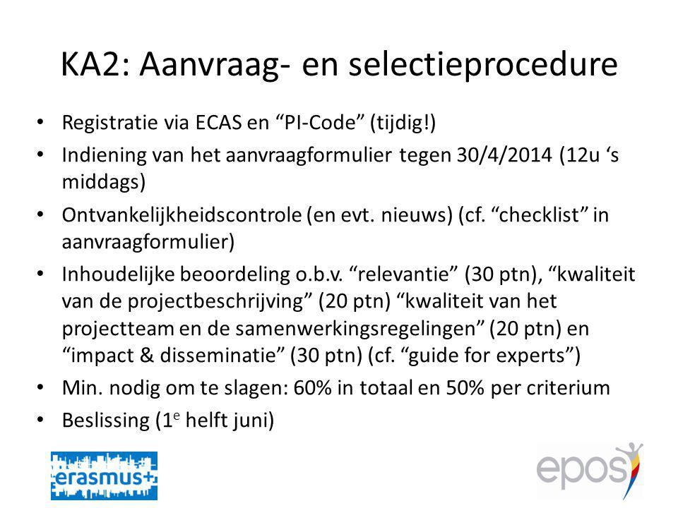 KA2: Aanvraag- en selectieprocedure Registratie via ECAS en PI-Code (tijdig!) Indiening van het aanvraagformulier tegen 30/4/2014 (12u 's middags) Ontvankelijkheidscontrole (en evt.