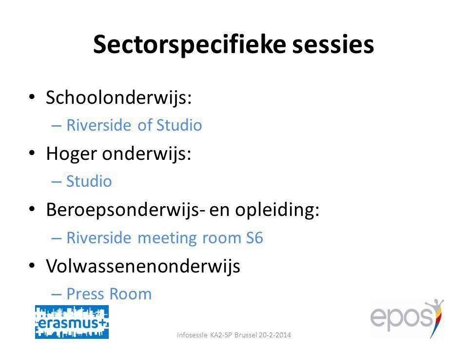 Sectorspecifieke sessies Infosessie KA2-SP Brussel 20-2-2014 Schoolonderwijs: – Riverside of Studio Hoger onderwijs: – Studio Beroepsonderwijs- en opleiding: – Riverside meeting room S6 Volwassenenonderwijs – Press Room
