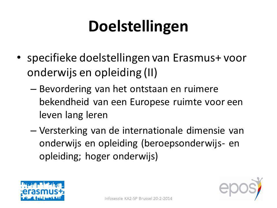 Doelstellingen specifieke doelstellingen van Erasmus+ voor onderwijs en opleiding (II) – Bevordering van het ontstaan en ruimere bekendheid van een Europese ruimte voor een leven lang leren – Versterking van de internationale dimensie van onderwijs en opleiding (beroepsonderwijs- en opleiding; hoger onderwijs) Infosessie KA2-SP Brussel 20-2-2014