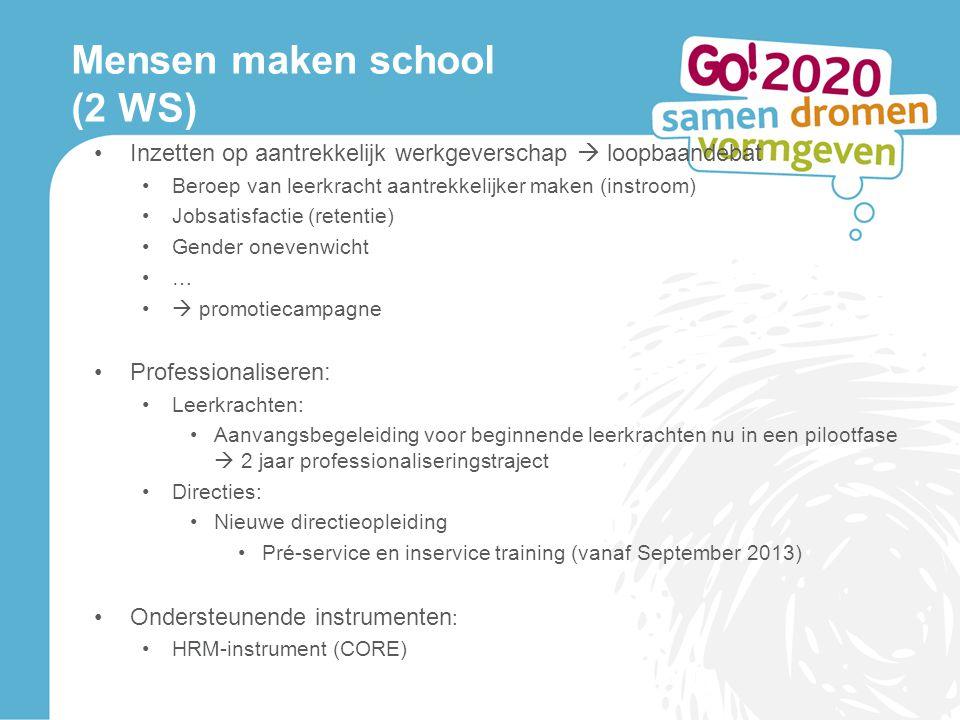 Mensen maken school (2 WS) Inzetten op aantrekkelijk werkgeverschap  loopbaandebat Beroep van leerkracht aantrekkelijker maken (instroom) Jobsatisfac