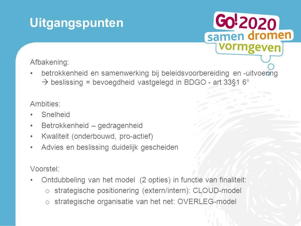 Uitgangspunten Afbakening: betrokkenheid en samenwerking bij beleidsvoorbereiding en -uitvoering  beslissing = bevoegdheid vastgelegd in BDGO - art 3