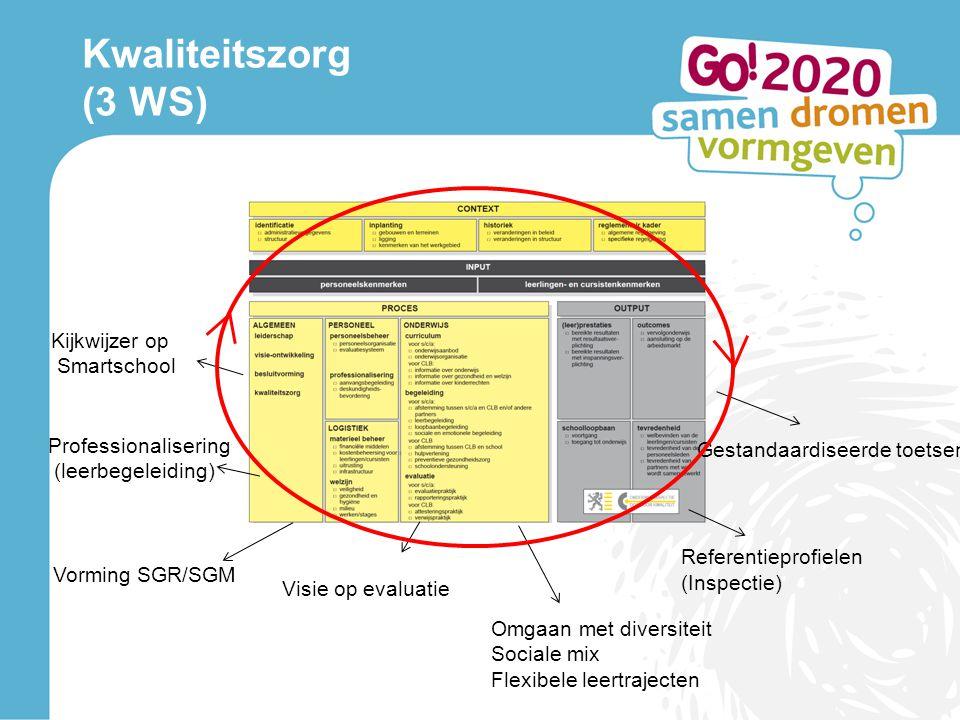 Kwaliteitszorg (3 WS) Gestandaardiseerde toetsen Visie op evaluatie Vorming SGR/SGM Kijkwijzer op Smartschool Omgaan met diversiteit Sociale mix Flexi