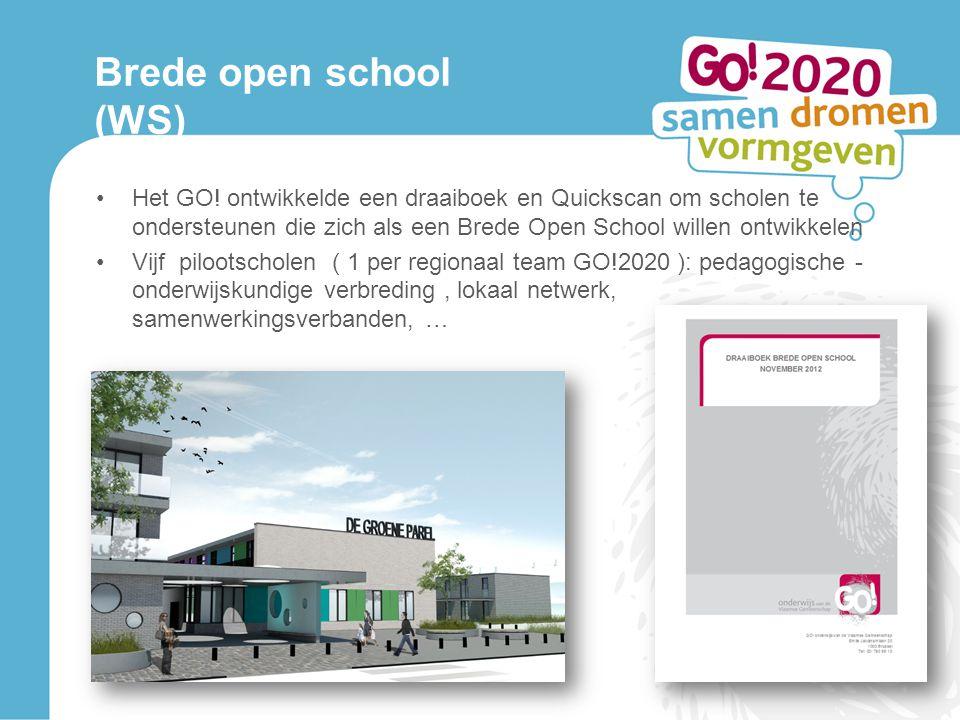 Brede open school (WS) Het GO! ontwikkelde een draaiboek en Quickscan om scholen te ondersteunen die zich als een Brede Open School willen ontwikkelen