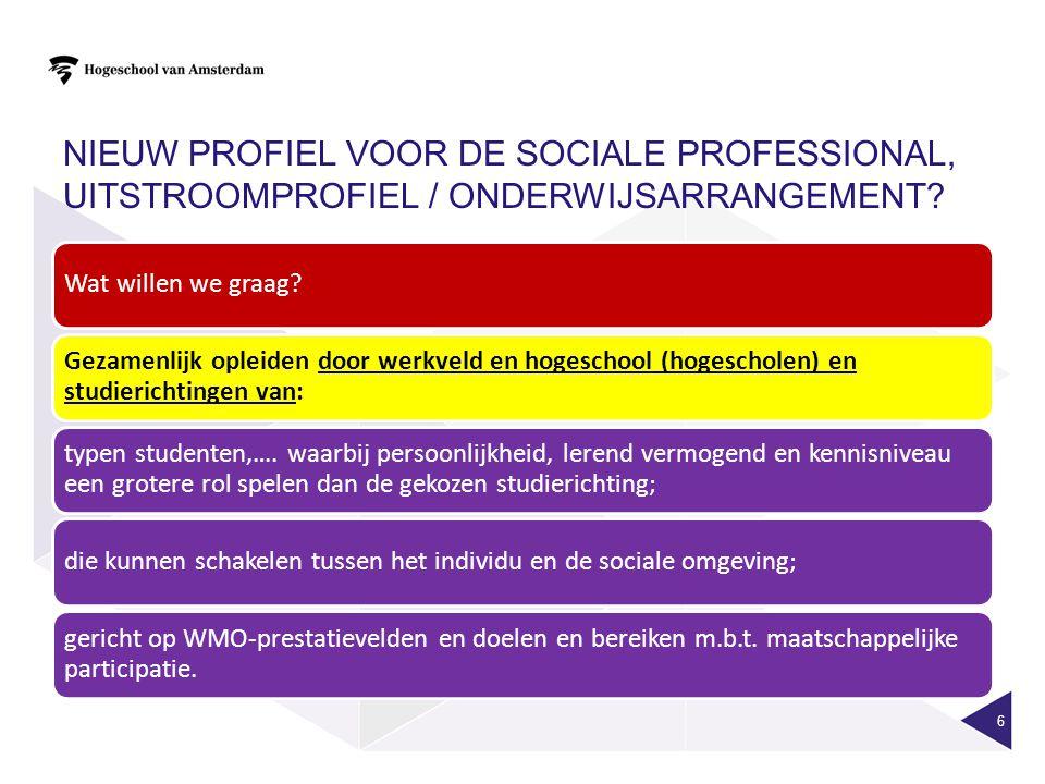 NIEUW PROFIEL VOOR DE SOCIALE PROFESSIONAL, UITSTROOMPROFIEL / ONDERWIJSARRANGEMENT? 6