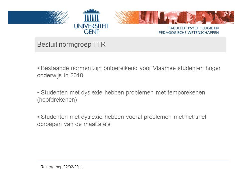 Besluit normgroep TTR Bestaande normen zijn ontoereikend voor Vlaamse studenten hoger onderwijs in 2010 Studenten met dyslexie hebben problemen met te