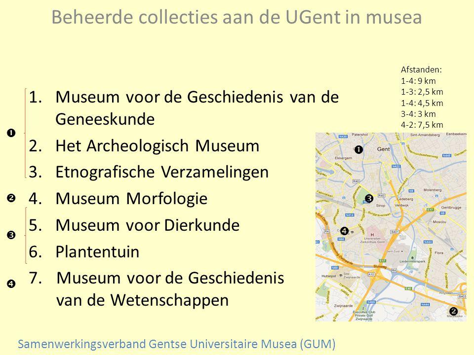Beheerde collecties aan de UGent in musea 1.Museum voor de Geschiedenis van de Geneeskunde 2.Het Archeologisch Museum 3.Etnografische Verzamelingen 4.