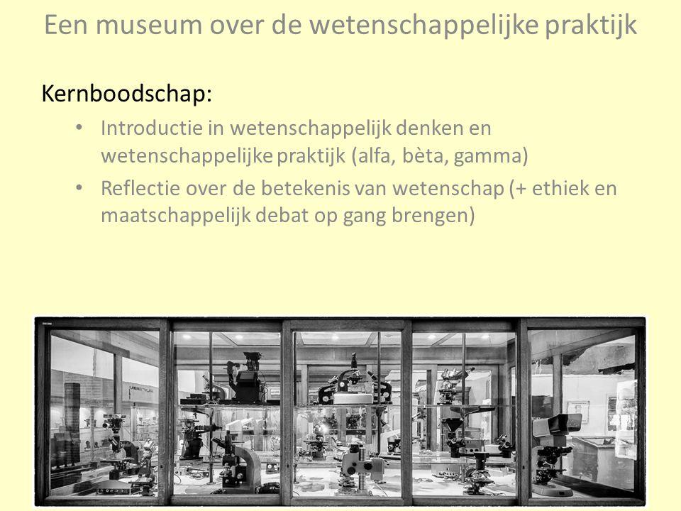 Een museum over de wetenschappelijke praktijk Kernboodschap: Introductie in wetenschappelijk denken en wetenschappelijke praktijk (alfa, bèta, gamma)