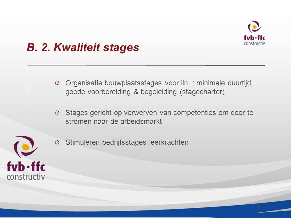 p.5 B. 2. Kwaliteit stages Organisatie bouwplaatsstages voor lln.
