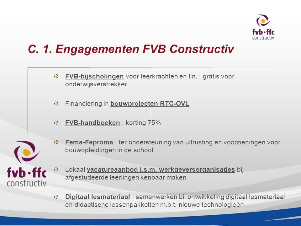 p.8 C. 1. Engagementen FVB Constructiv  FVB-bijscholingen voor leerkrachten en lln.