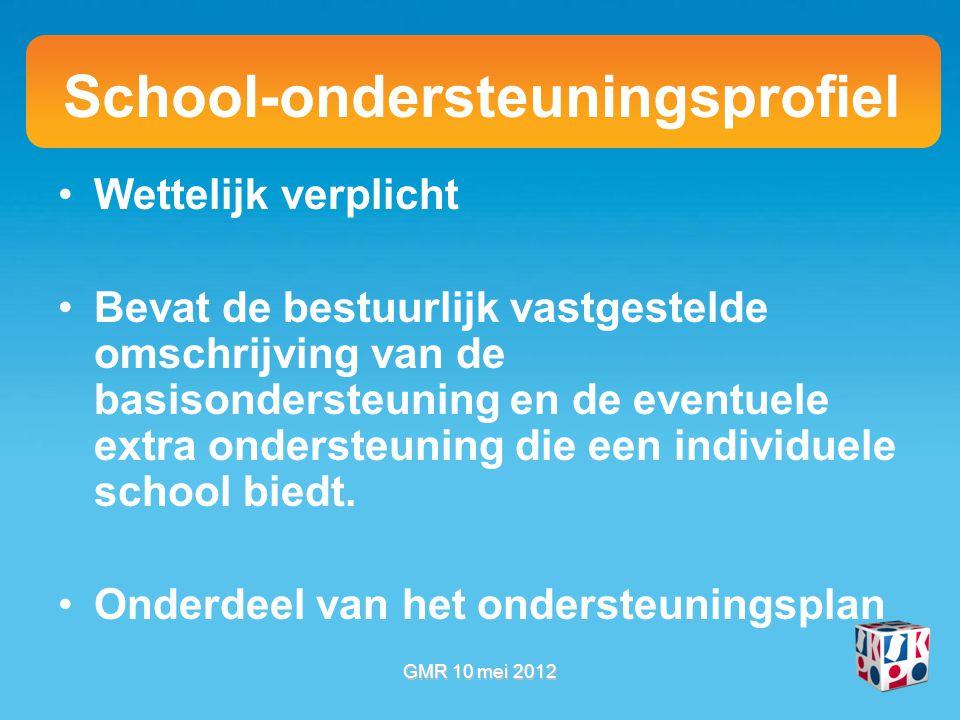School-ondersteuningsprofiel Wettelijk verplicht Bevat de bestuurlijk vastgestelde omschrijving van de basisondersteuning en de eventuele extra ondersteuning die een individuele school biedt.