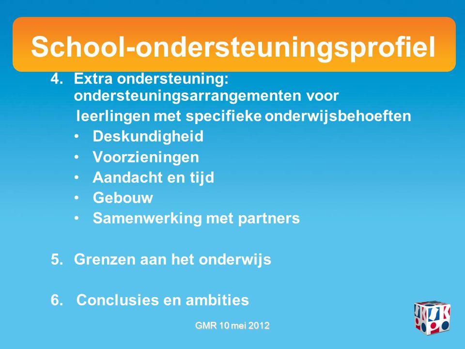 School-ondersteuningsprofiel 4.Extra ondersteuning: ondersteuningsarrangementen voor leerlingen met specifieke onderwijsbehoeften Deskundigheid Voorzieningen Aandacht en tijd Gebouw Samenwerking met partners 5.Grenzen aan het onderwijs 6.
