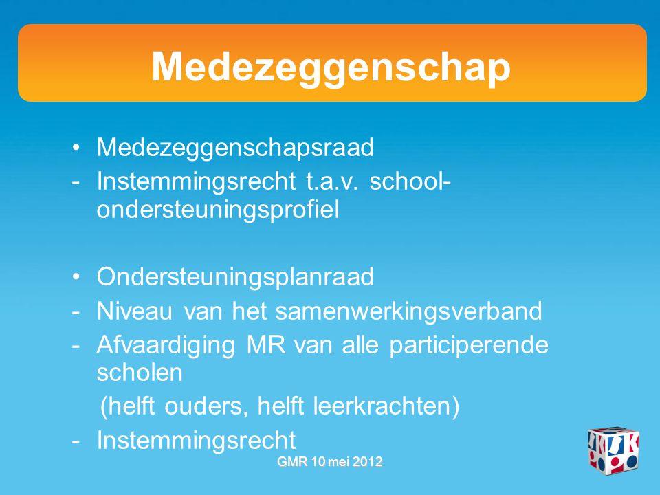 Medezeggenschap Medezeggenschapsraad -Instemmingsrecht t.a.v.