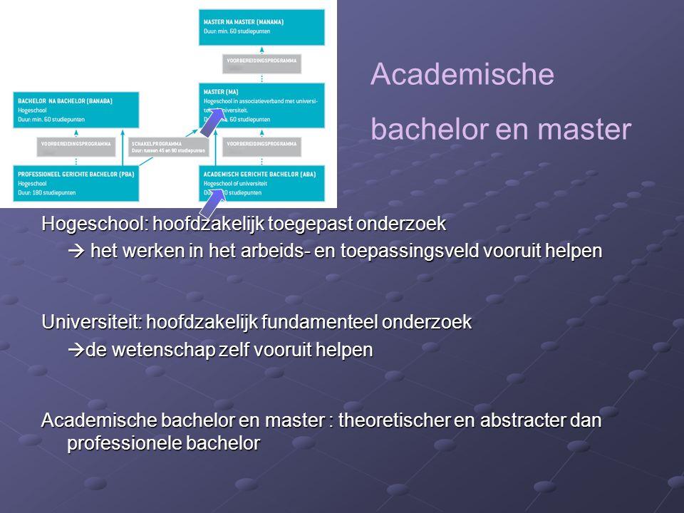Academische bachelor en master Hogeschool: hoofdzakelijk toegepast onderzoek  het werken in het arbeids- en toepassingsveld vooruit helpen Universite