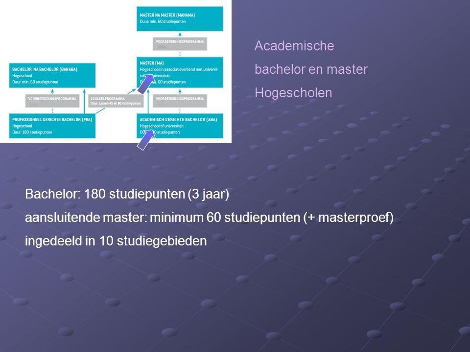 Academische bachelor en master Hogescholen Bachelor: 180 studiepunten (3 jaar) aansluitende master: minimum 60 studiepunten (+ masterproef) ingedeeld