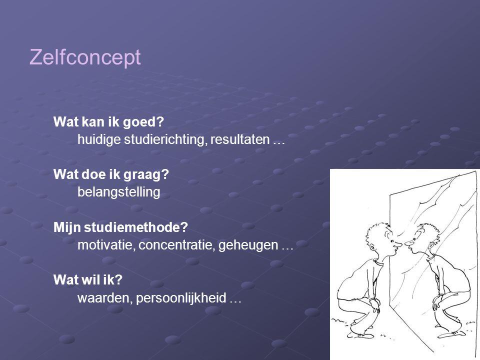 Zelfconcept Wat kan ik goed? huidige studierichting, resultaten … Wat doe ik graag? belangstelling Mijn studiemethode? motivatie, concentratie, geheug