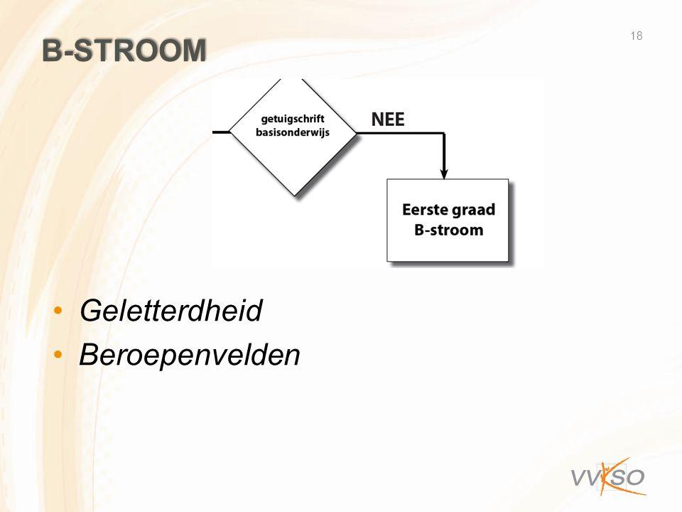 B-STROOM 18 Geletterdheid Beroepenvelden
