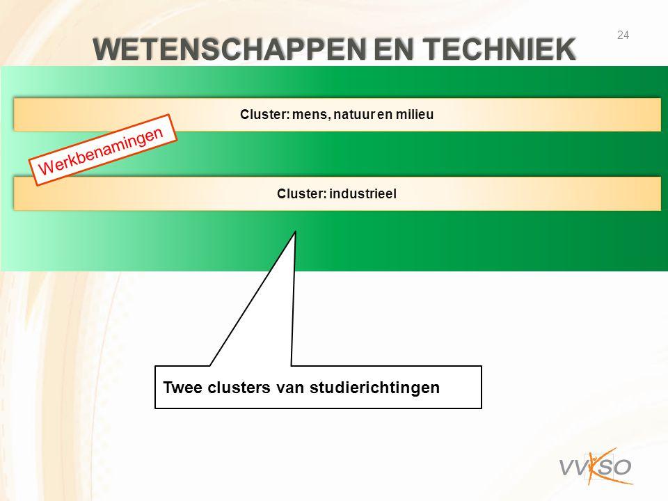 WETENSCHAPPEN EN TECHNIEK 24 Cluster: mens, natuur en milieu Cluster: industrieel Twee clusters van studierichtingen Werkbenamingen