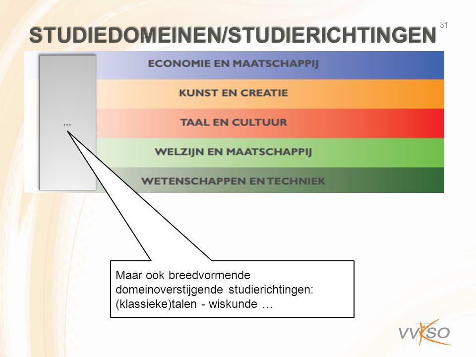 STUDIEDOMEINEN/STUDIERICHTINGEN 31 … … Maar ook breedvormende domeinoverstijgende studierichtingen: (klassieke)talen - wiskunde …