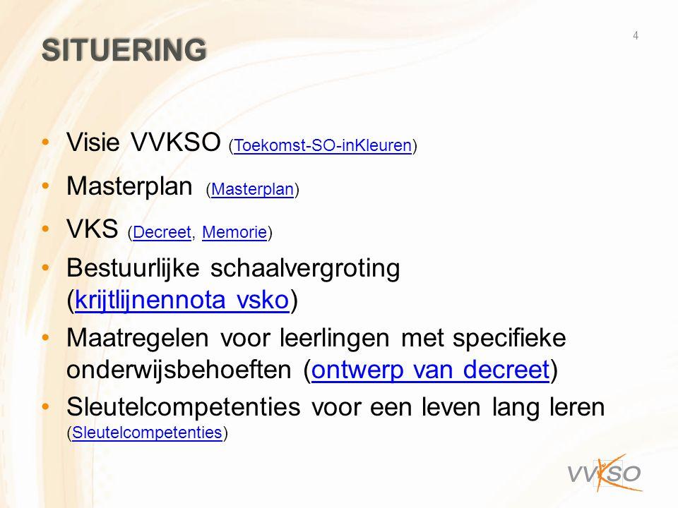 SITUERING Visie VVKSO (Toekomst-SO-inKleuren)Toekomst-SO-inKleuren Masterplan (Masterplan)Masterplan VKS (Decreet, Memorie)DecreetMemorie Bestuurlijke