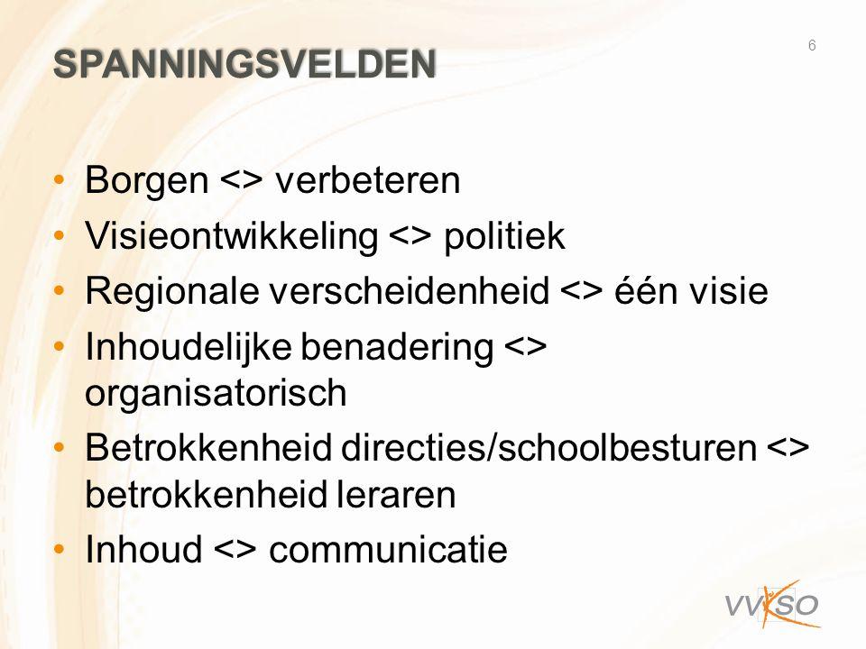 SPANNINGSVELDEN Borgen <> verbeteren Visieontwikkeling <> politiek Regionale verscheidenheid <> één visie Inhoudelijke benadering <> organisatorisch Betrokkenheid directies/schoolbesturen <> betrokkenheid leraren Inhoud <> communicatie 6