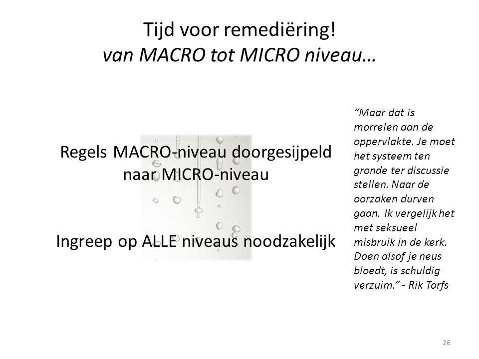 26 Regels MACRO-niveau doorgesijpeld naar MICRO-niveau Ingreep op ALLE niveaus noodzakelijk Tijd voor remediëring.