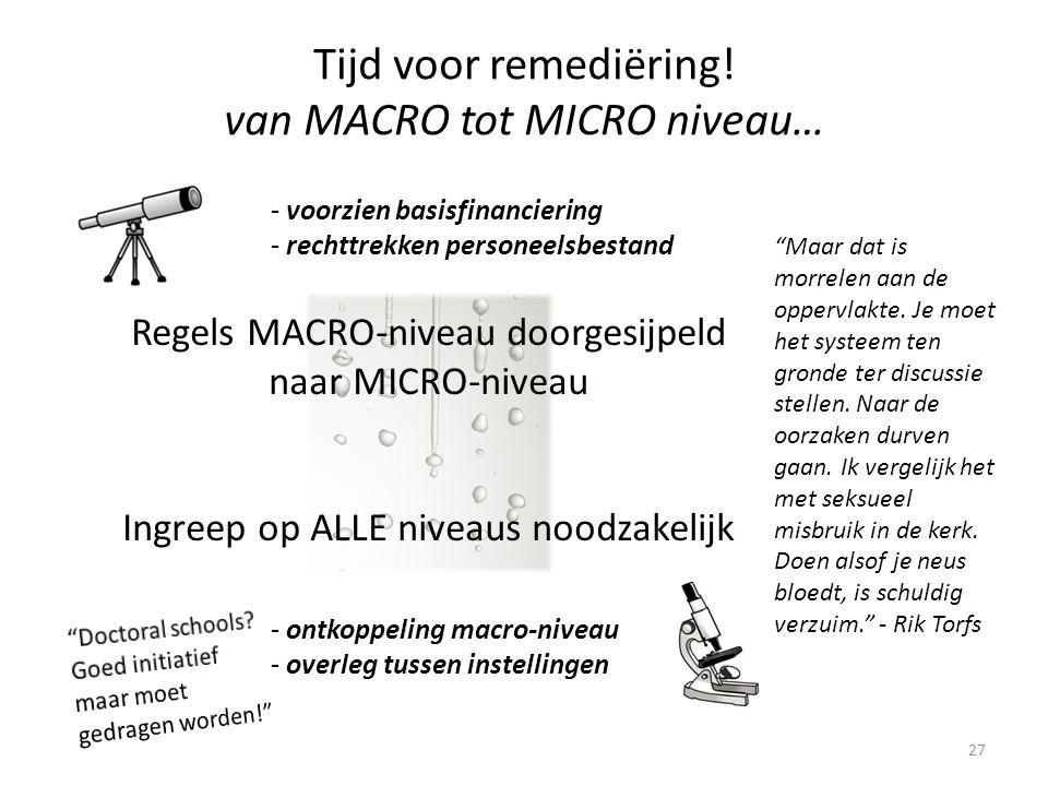 27 Regels MACRO-niveau doorgesijpeld naar MICRO-niveau Ingreep op ALLE niveaus noodzakelijk - voorzien basisfinanciering - rechttrekken personeelsbestand - ontkoppeling macro-niveau - overleg tussen instellingen Tijd voor remediëring.
