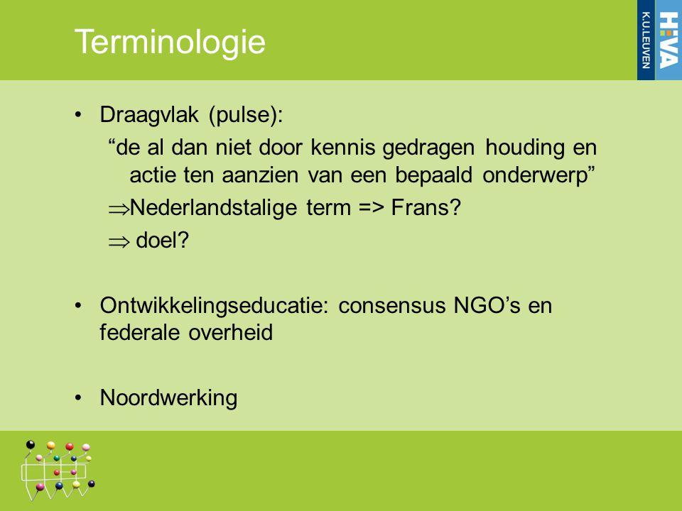 Terminologie Draagvlak (pulse): de al dan niet door kennis gedragen houding en actie ten aanzien van een bepaald onderwerp  Nederlandstalige term => Frans.