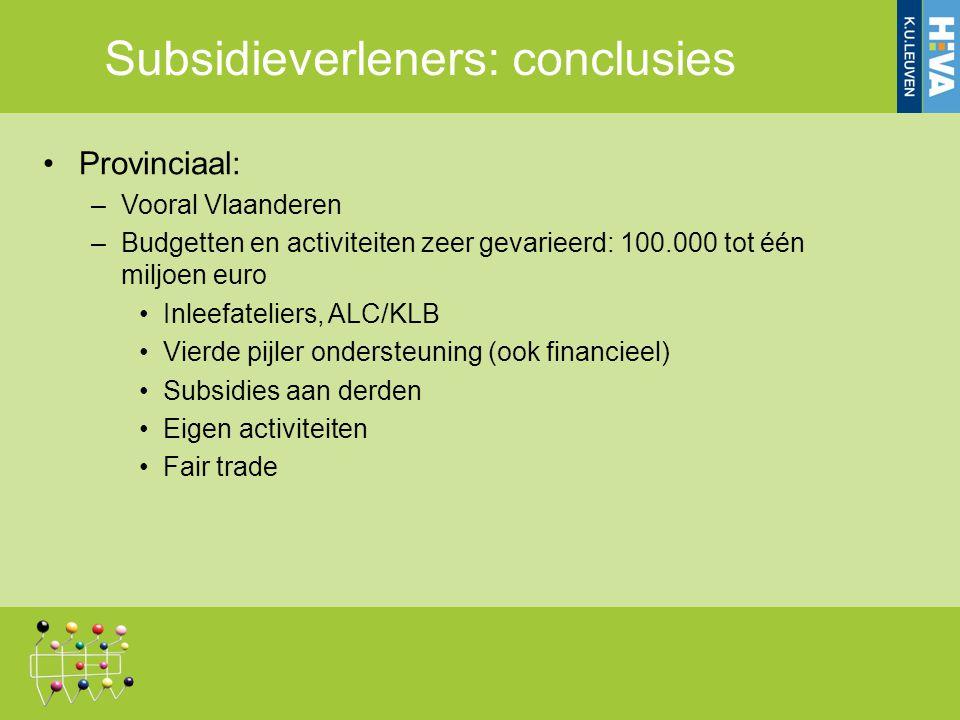 Subsidieverleners: conclusies Provinciaal: –Vooral Vlaanderen –Budgetten en activiteiten zeer gevarieerd: 100.000 tot één miljoen euro Inleefateliers, ALC/KLB Vierde pijler ondersteuning (ook financieel) Subsidies aan derden Eigen activiteiten Fair trade