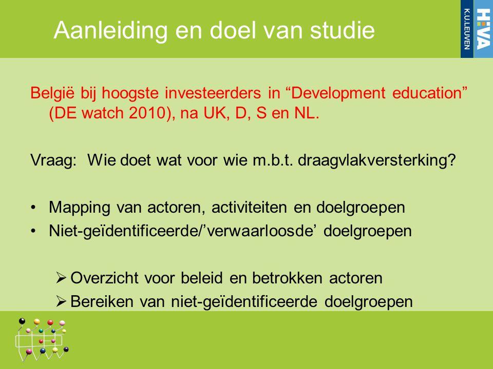 Aanleiding en doel van studie België bij hoogste investeerders in Development education (DE watch 2010), na UK, D, S en NL.