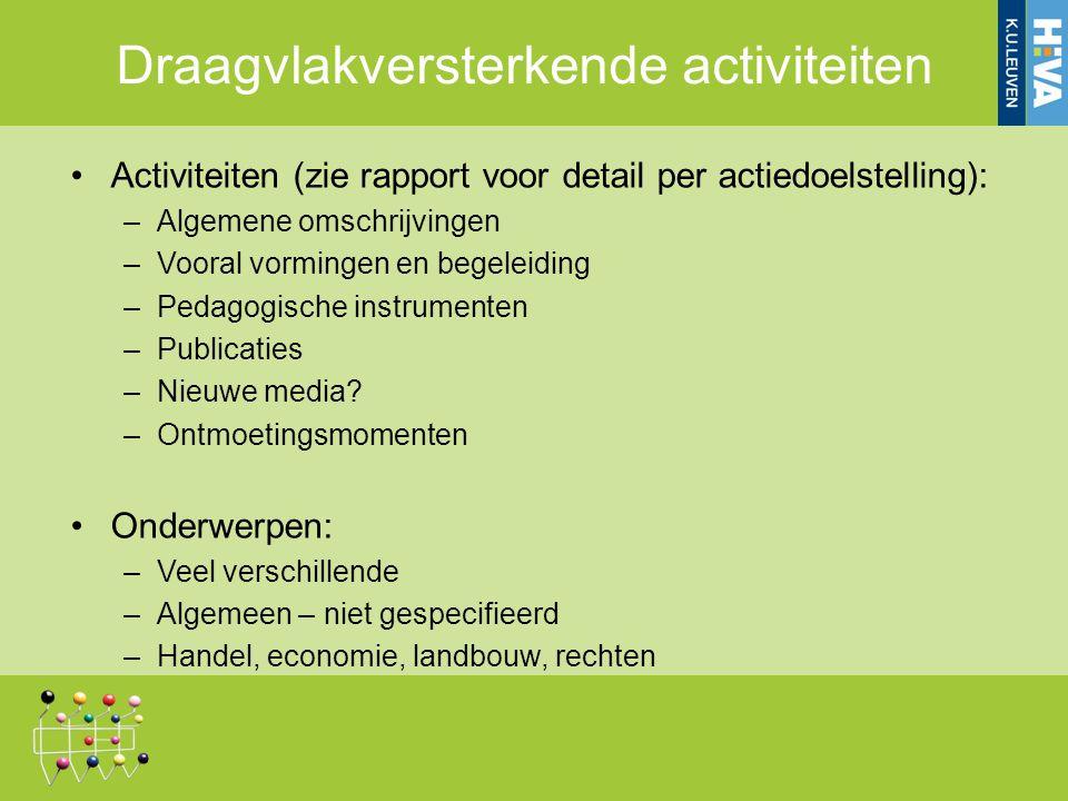Activiteiten (zie rapport voor detail per actiedoelstelling): –Algemene omschrijvingen –Vooral vormingen en begeleiding –Pedagogische instrumenten –Publicaties –Nieuwe media.