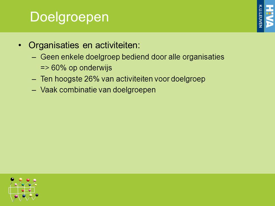 Organisaties en activiteiten: –Geen enkele doelgroep bediend door alle organisaties => 60% op onderwijs –Ten hoogste 26% van activiteiten voor doelgroep –Vaak combinatie van doelgroepen Doelgroepen