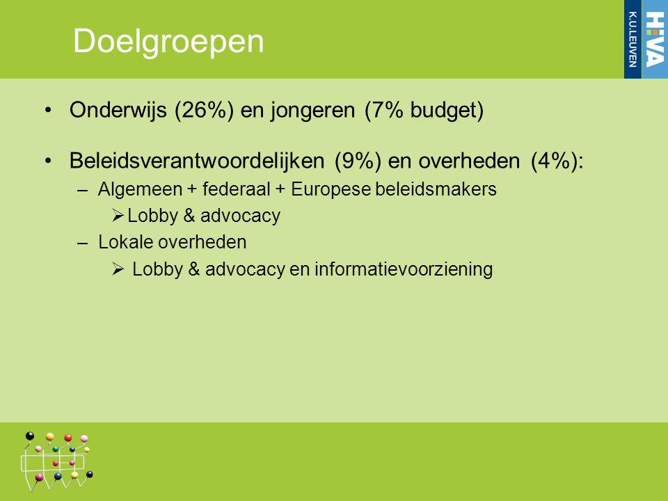Onderwijs (26%) en jongeren (7% budget) Beleidsverantwoordelijken (9%) en overheden (4%): –Algemeen + federaal + Europese beleidsmakers  Lobby & advocacy –Lokale overheden  Lobby & advocacy en informatievoorziening Doelgroepen