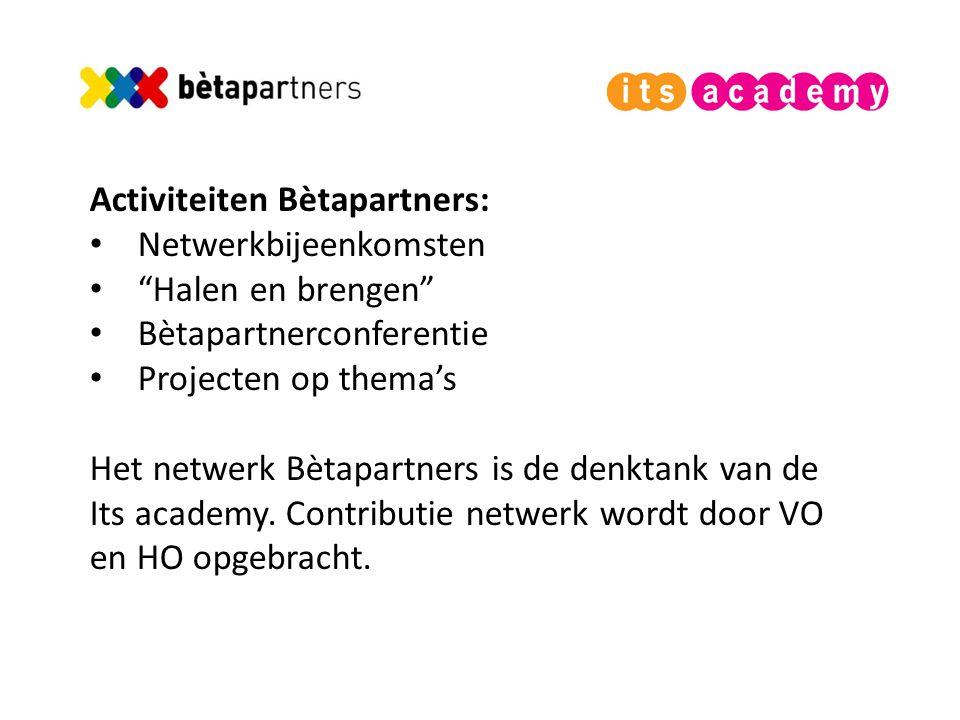 Activiteiten Bètapartners: Netwerkbijeenkomsten Halen en brengen Bètapartnerconferentie Projecten op thema's Het netwerk Bètapartners is de denktank van de Its academy.