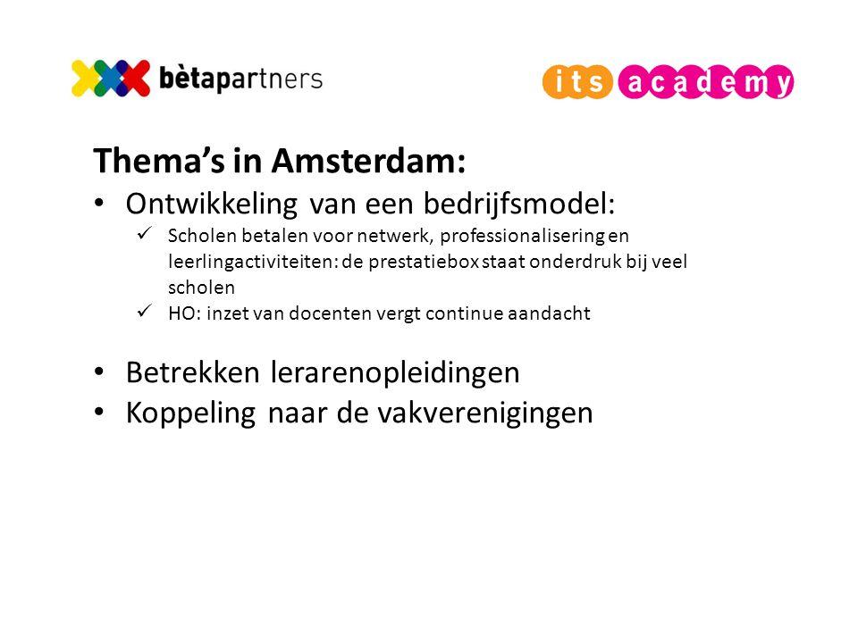 Thema's in Amsterdam: Ontwikkeling van een bedrijfsmodel: Scholen betalen voor netwerk, professionalisering en leerlingactiviteiten: de prestatiebox staat onderdruk bij veel scholen HO: inzet van docenten vergt continue aandacht Betrekken lerarenopleidingen Koppeling naar de vakverenigingen