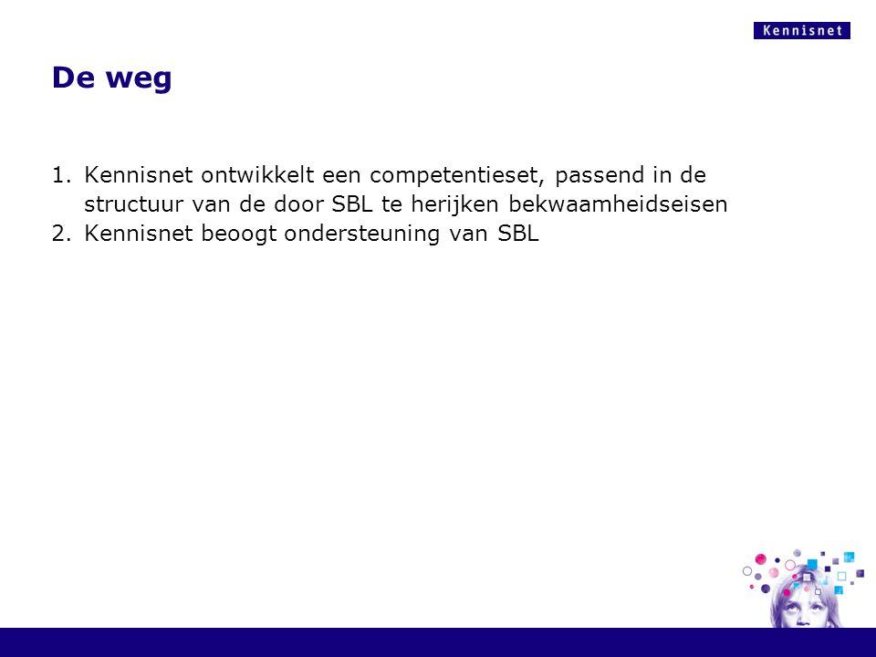 De weg 1.Kennisnet ontwikkelt een competentieset, passend in de structuur van de door SBL te herijken bekwaamheidseisen 2.Kennisnet beoogt ondersteuni
