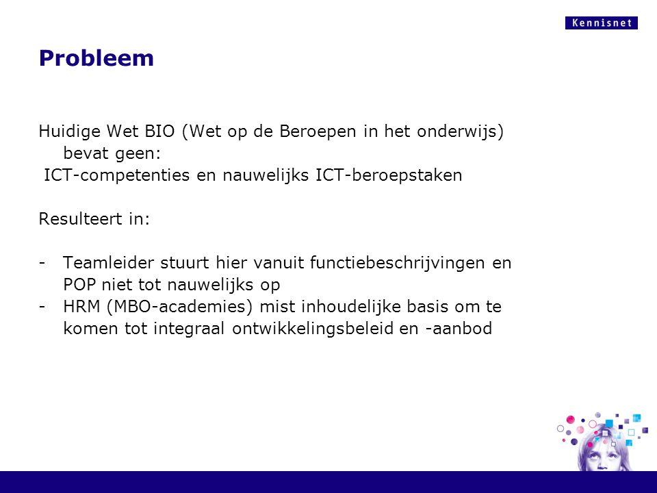 Probleem Huidige Wet BIO (Wet op de Beroepen in het onderwijs) bevat geen: ICT-competenties en nauwelijks ICT-beroepstaken Resulteert in: -Teamleider