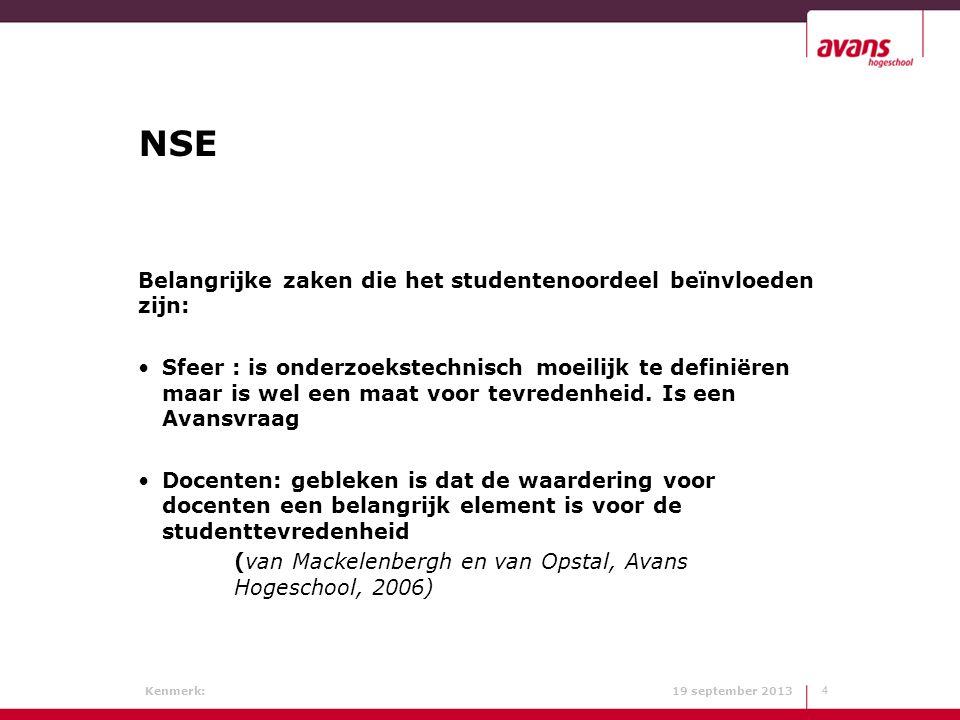 Kenmerk: 19 september 2013 NSE Belangrijke zaken die het studentenoordeel beïnvloeden zijn: Sfeer : is onderzoekstechnisch moeilijk te definiëren maar