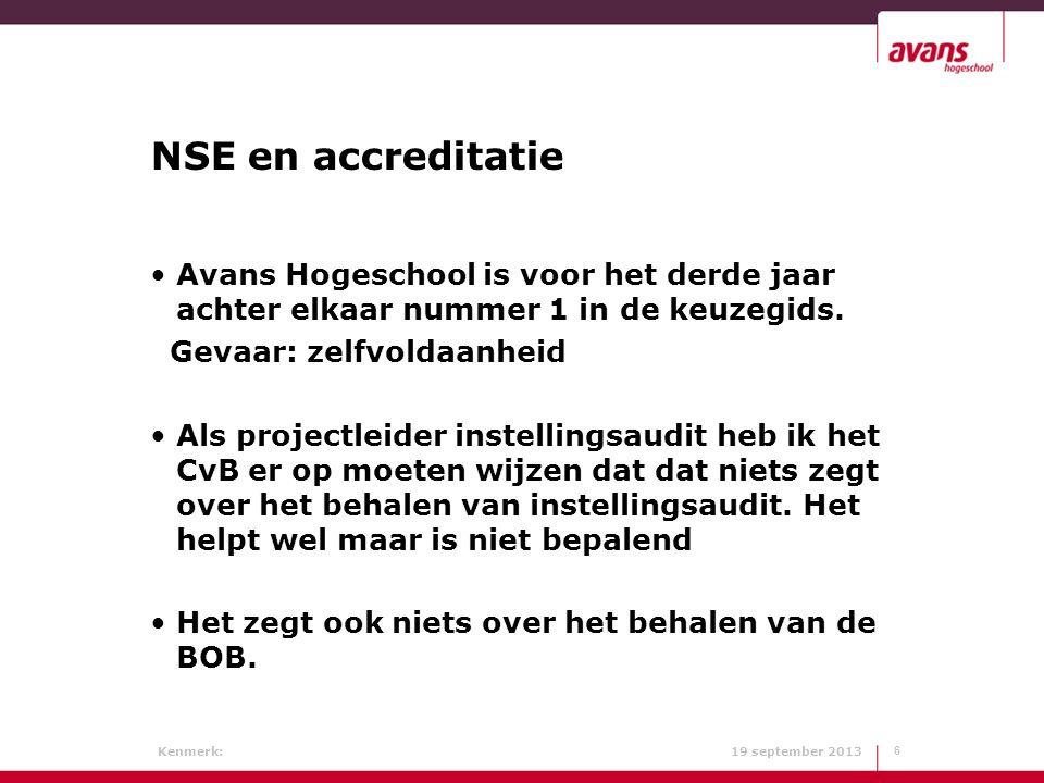 Kenmerk: 19 september 2013 NSE en accreditatie Avans Hogeschool is voor het derde jaar achter elkaar nummer 1 in de keuzegids. Gevaar: zelfvoldaanheid