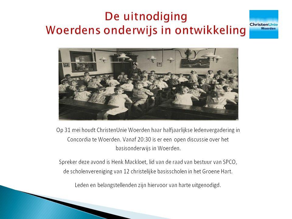  Henk Mackloet (54)  Lid Christenunie Harmelen  33 jaar onderwijservaring primair onderwijs ◦ Leerkracht, directeur, adviseur, lid algemene directie, lid college van bestuur  Actief als bestuurder SPCO Groene Hart Woerden ◦ Prot.
