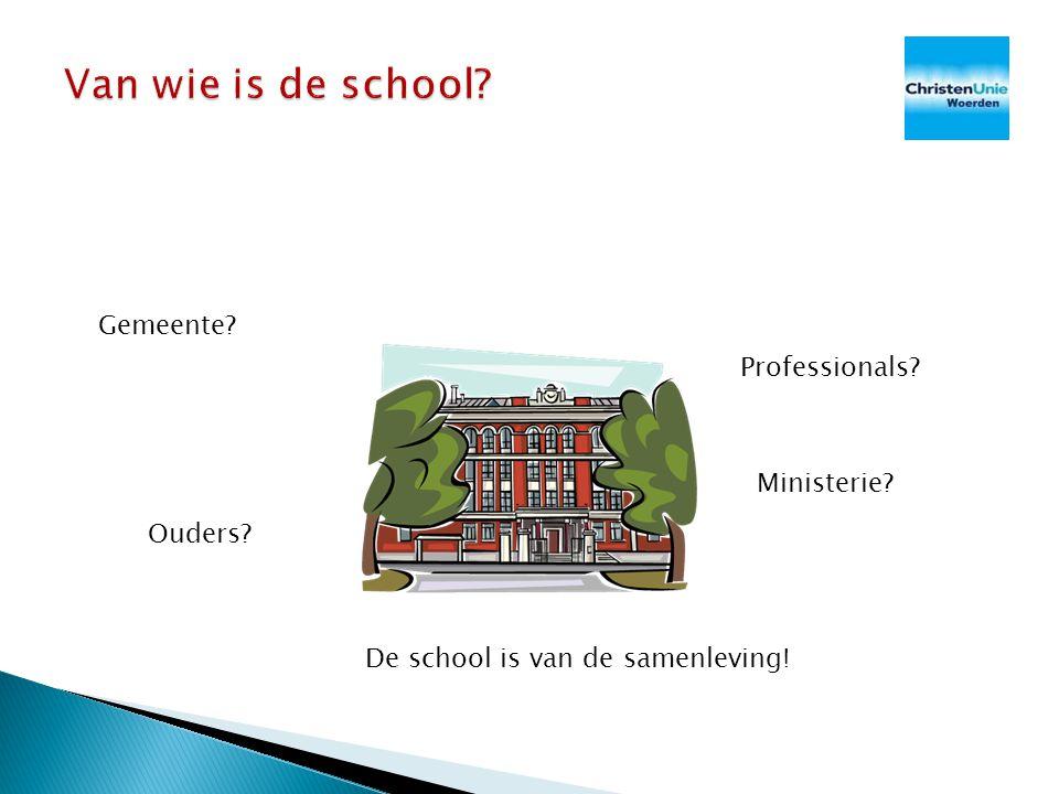 De school Bibliotheek Ouders Kerk School OCWVWSLNVVROMBZK Oud denken: centraal aansturing landelijke overheid ---------------------------------------------------------- Nieuw denken: school als maatschappelijke onderneming
