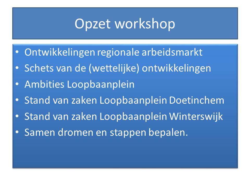 Opzet workshop Ontwikkelingen regionale arbeidsmarkt Schets van de (wettelijke) ontwikkelingen Ambities Loopbaanplein Stand van zaken Loopbaanplein Do
