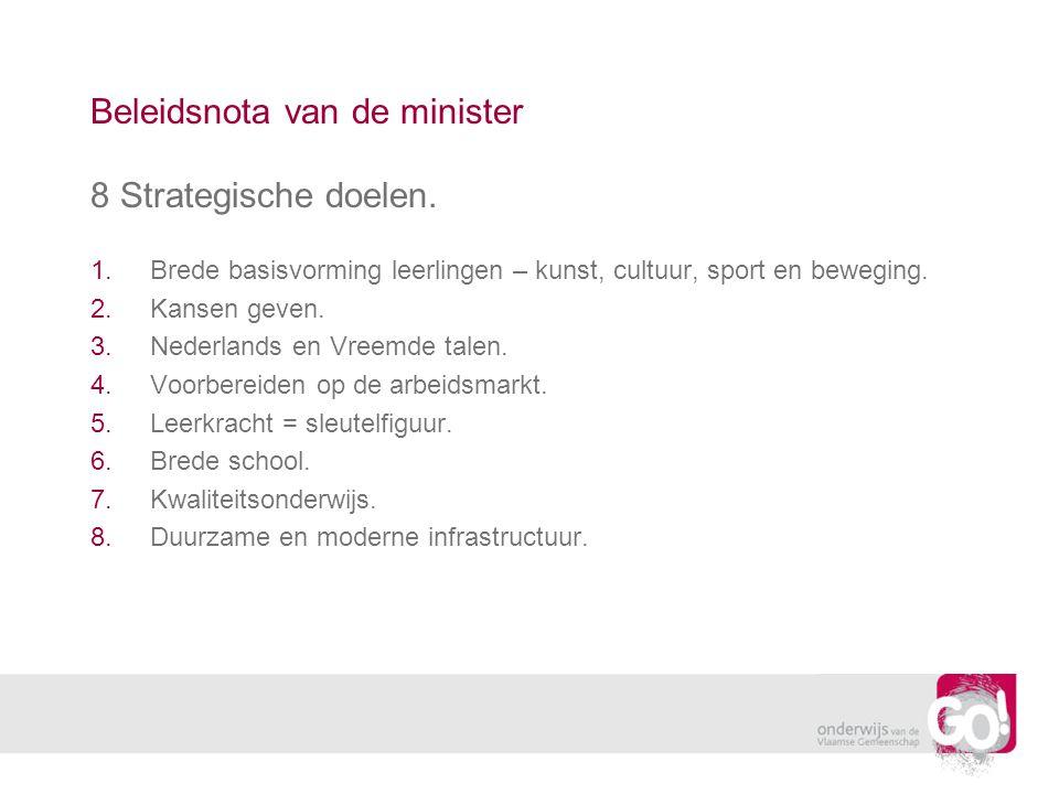 Beleidsnota van de minister 8 Strategische doelen. 1.Brede basisvorming leerlingen – kunst, cultuur, sport en beweging. 2.Kansen geven. 3.Nederlands e