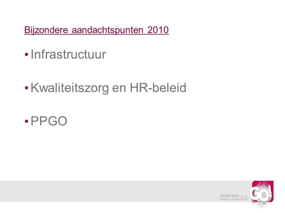 Bijzondere aandachtspunten 2010 Infrastructuur Kwaliteitszorg en HR-beleid PPGO