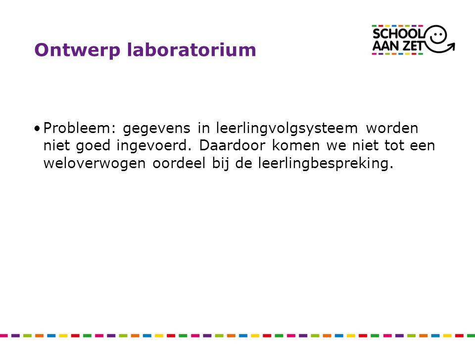 Ontwerp laboratorium Probleem: gegevens in leerlingvolgsysteem worden niet goed ingevoerd.